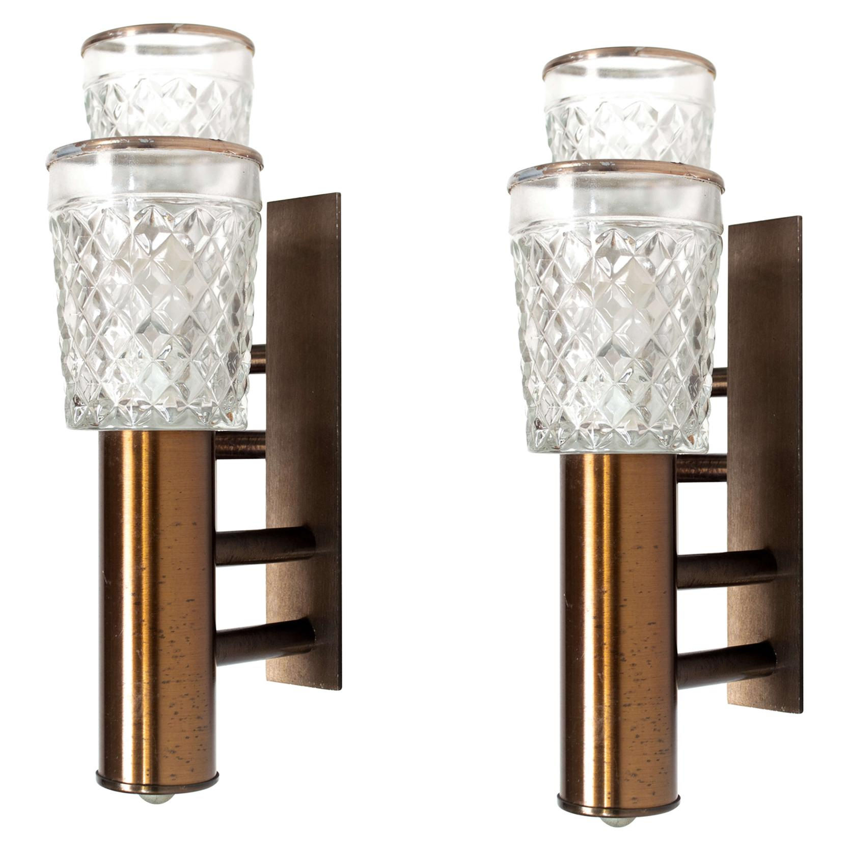 Set of Two Stilux Wall Appliques in Glass and Metal from Italy, 1960s