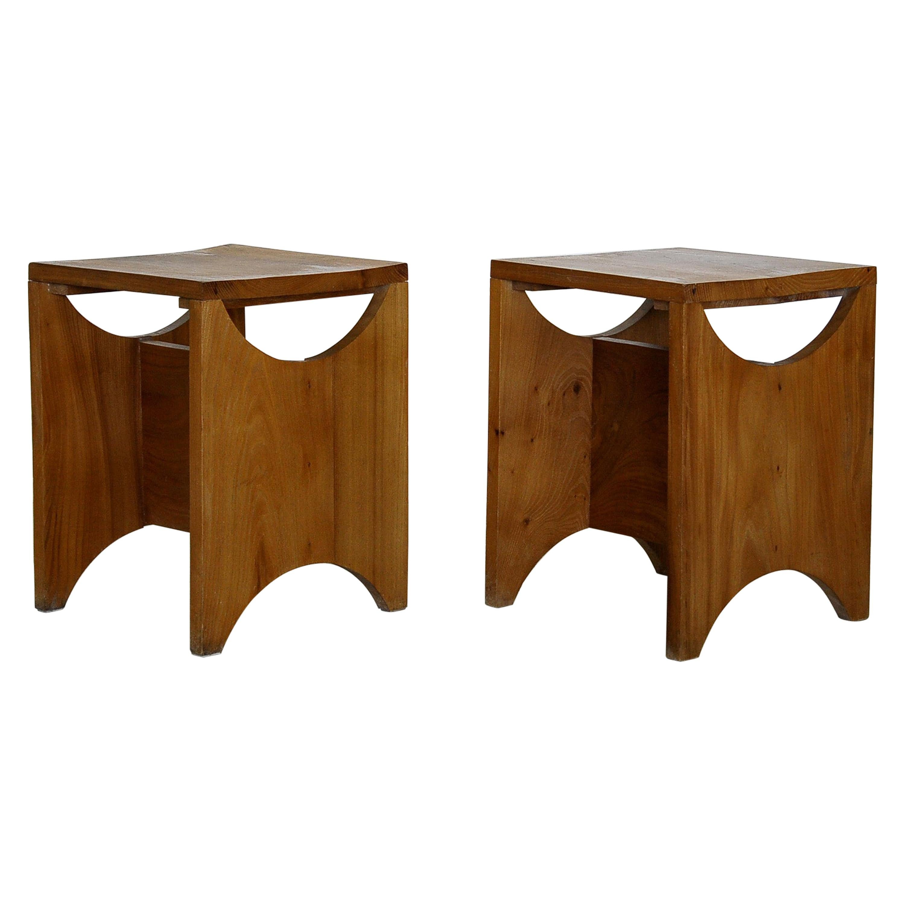 Set of Two Studio Stool, Solid Elmwood, France, 1970s