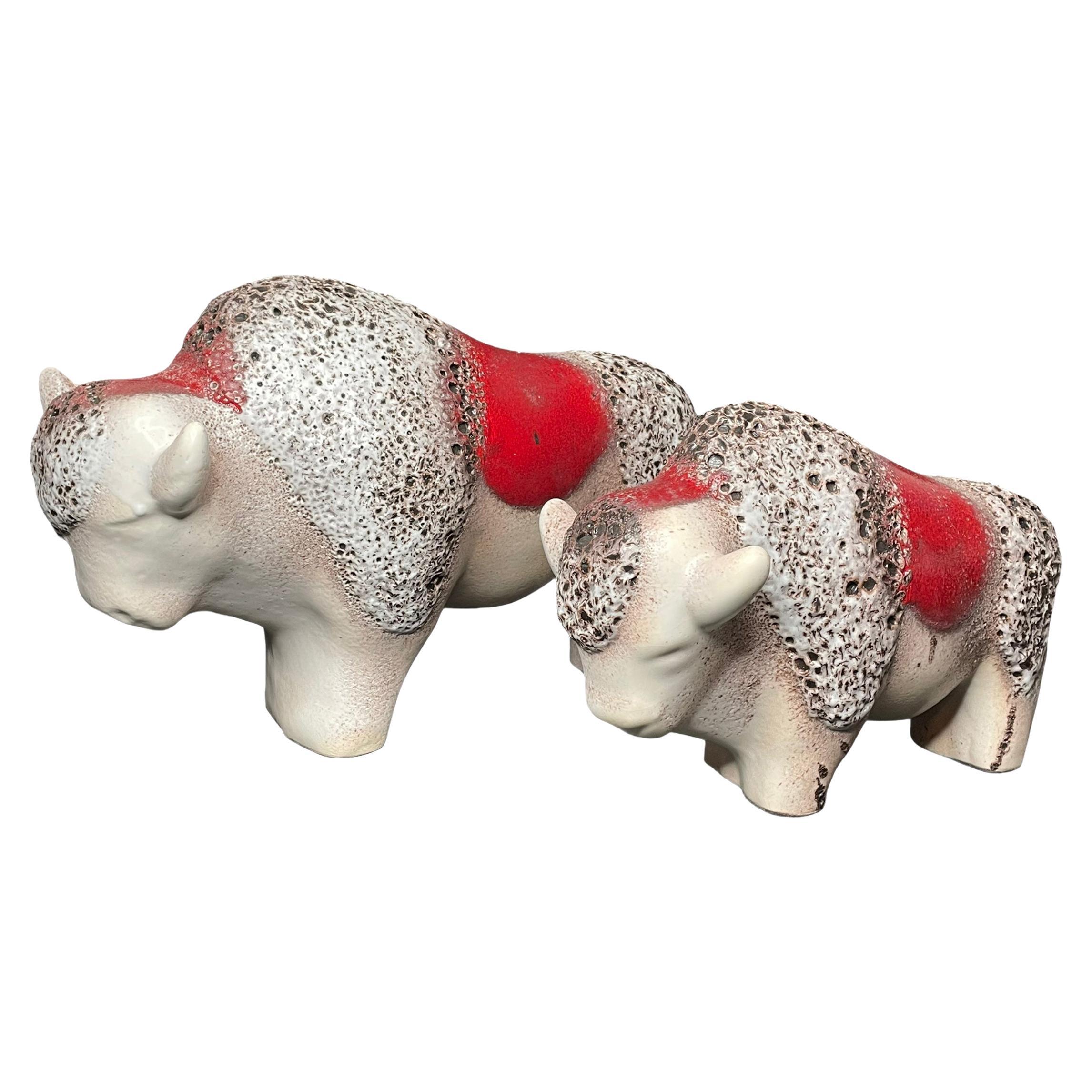 Set of Two Stunning Bull Statue Fat Lava Ceramic by Otto Keramik Germany 1970s