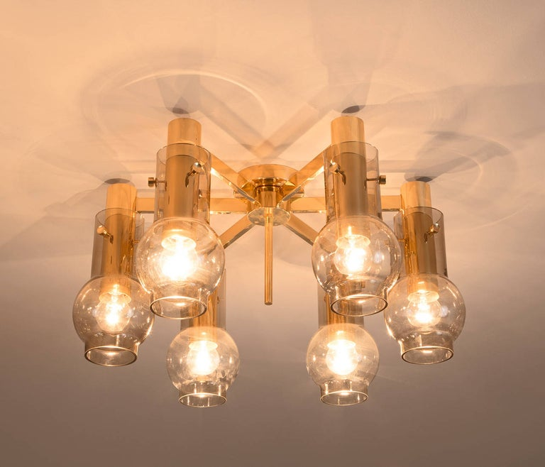 Scandinavian Modern Swedish Brass Chandelier with Smoked Glass Shades For Sale