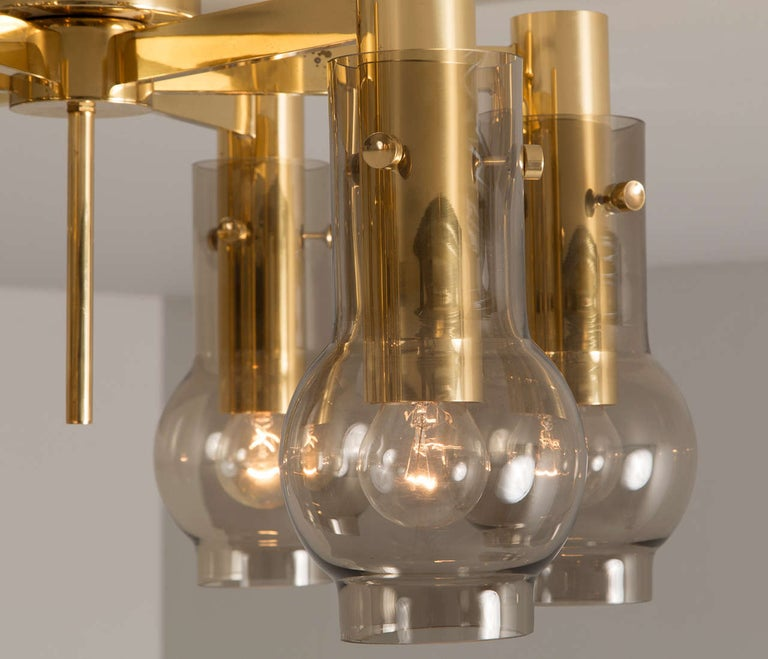 Danish Swedish Brass Chandelier with Smoked Glass Shades For Sale