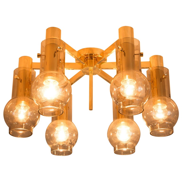 Swedish Brass Chandelier with Smoked Glass Shades For Sale