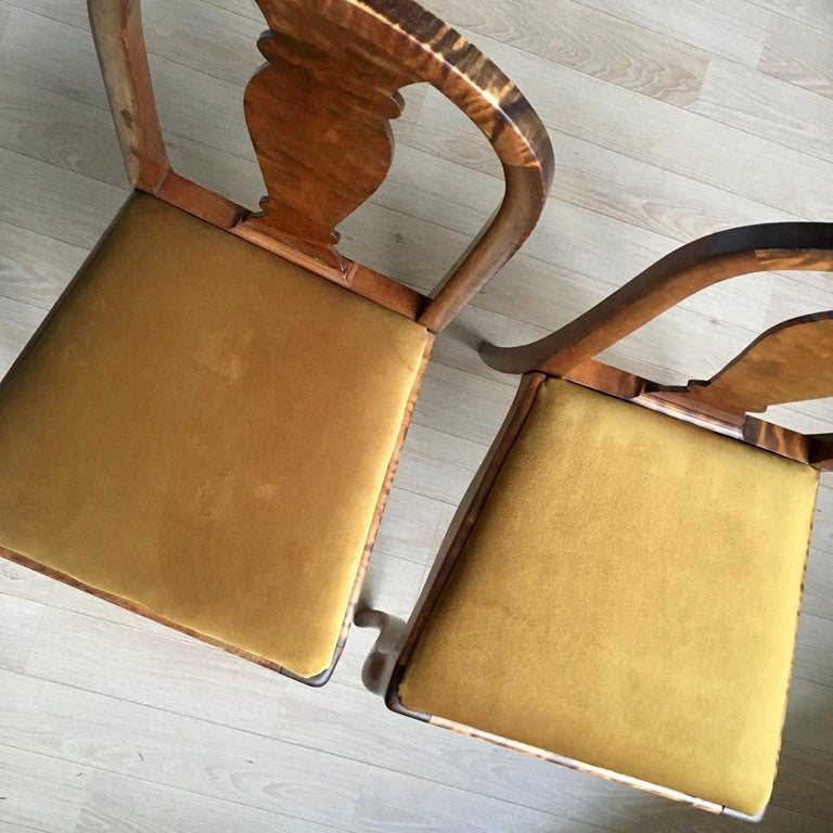 Set of Two Swedish Satin Birch Chairs, 1910s For Sale 5