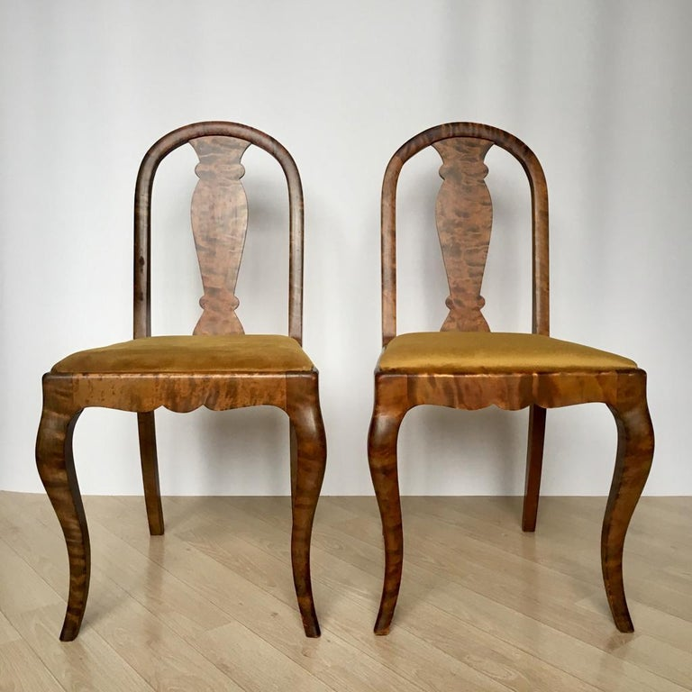 20th Century Set of Two Swedish Satin Birch Chairs, 1910s For Sale