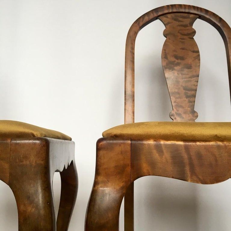 Set of Two Swedish Satin Birch Chairs, 1910s For Sale 2