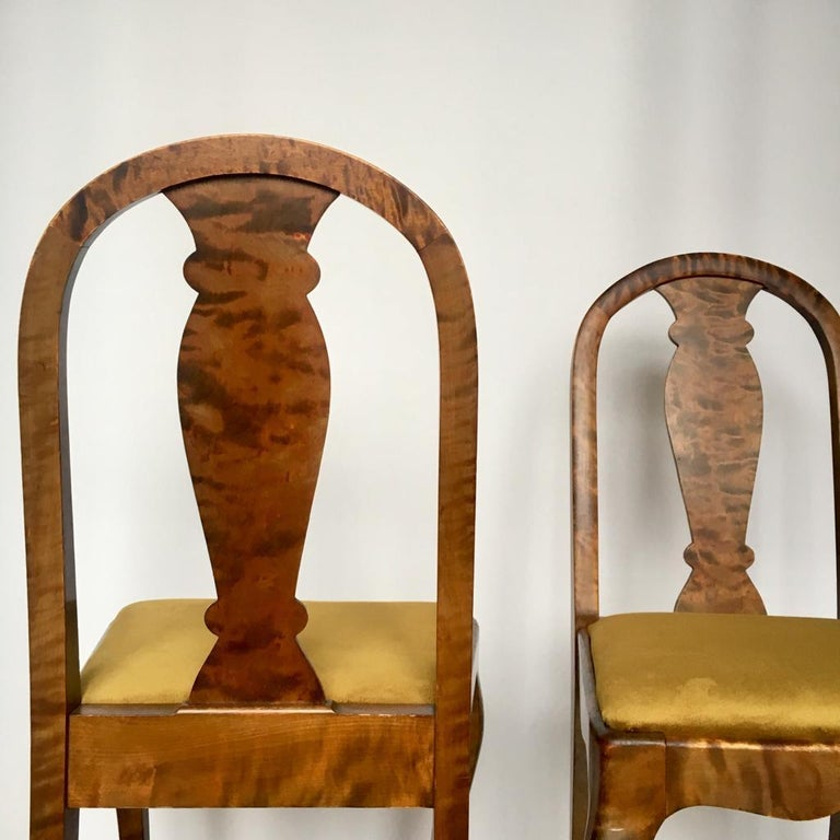 Set of Two Swedish Satin Birch Chairs, 1910s For Sale 3