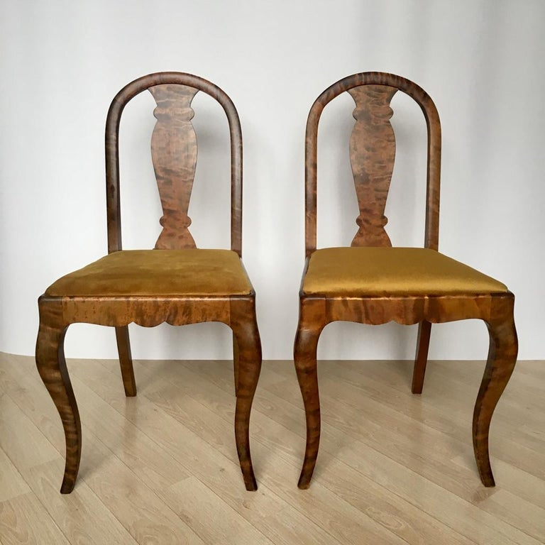 Fabric Set of Two Swedish Satin Birch Chairs, 1910s For Sale