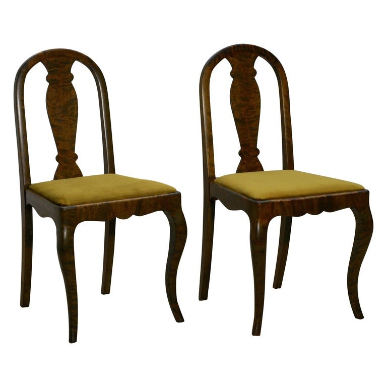 Each chair features a very rich satin birch wood structure, that gives this wood a soft touch. it is difficult to catch its color on photos, it depends on the light and reminds me a tiger design. The colors- green, yellow, brown, black. New