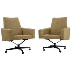 Set of Two Swivel Armchairs, Czechoslovakia