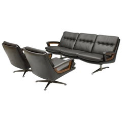 Set of Two Swivel Lounge Chairs and Sofa by Carl Straub in Black Leather, 1960s