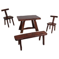 """Set of Two """"T"""" Chairs, Table and Bench by Olavi Hänninen for Mikko Nupponen"""