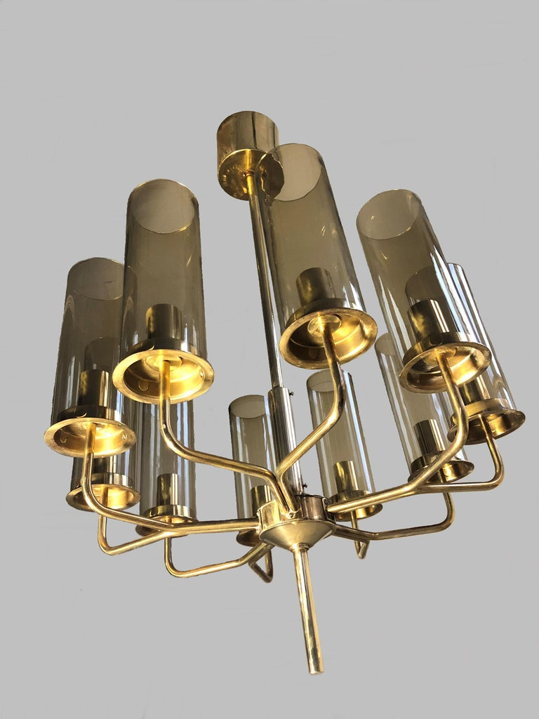 Mid-Century Modern Set of Two T10 Hans-Agne Jakobsson Chandeliers in Brass by AB Markaryd For Sale