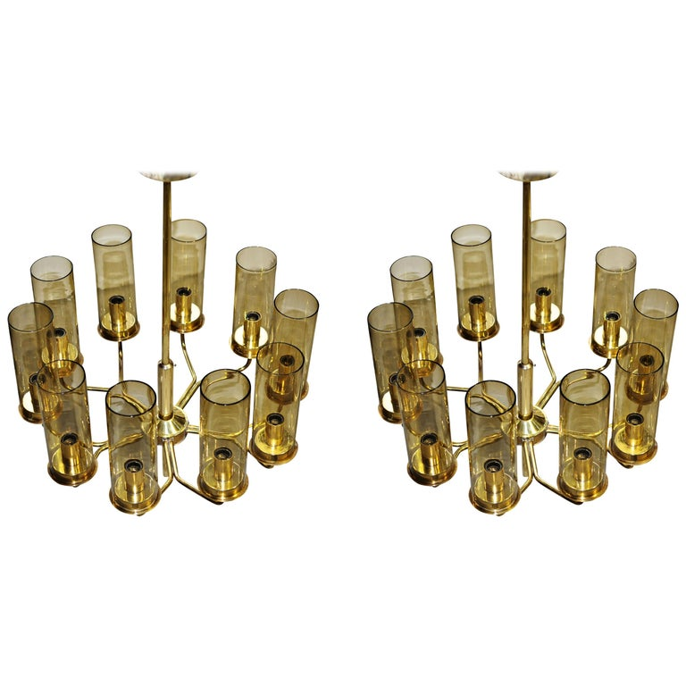 Set of Two T10 Hans-Agne Jakobsson Chandeliers in Brass by AB Markaryd For Sale