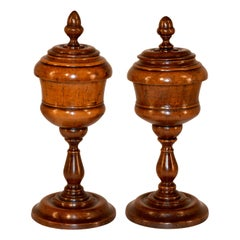 Set of Two Tall Treen Lidded Jars