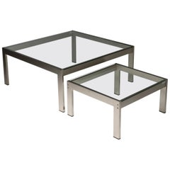 "Set of Two ""Tau"" Steel Tables by Gae Aulenti for La Rinascente"