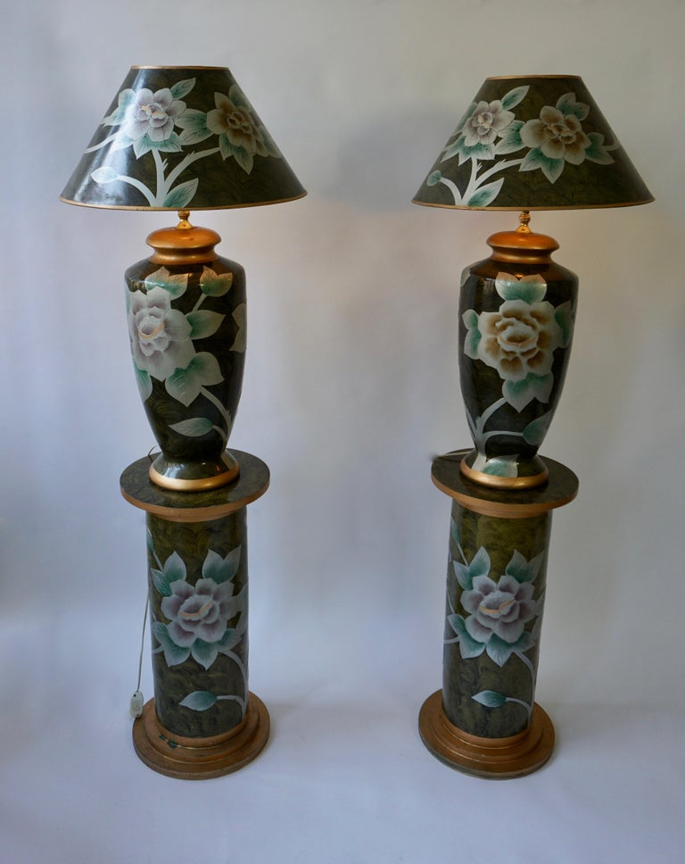 Set of Two Terracotta Table Lamps on Columns In Good Condition For Sale In Antwerp, BE