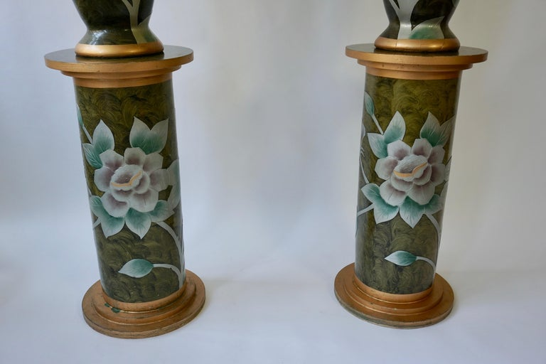 20th Century Set of Two Terracotta Table Lamps on Columns For Sale