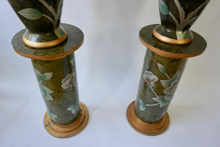 Set of Two Terracotta Table Lamps on Columns For Sale 1