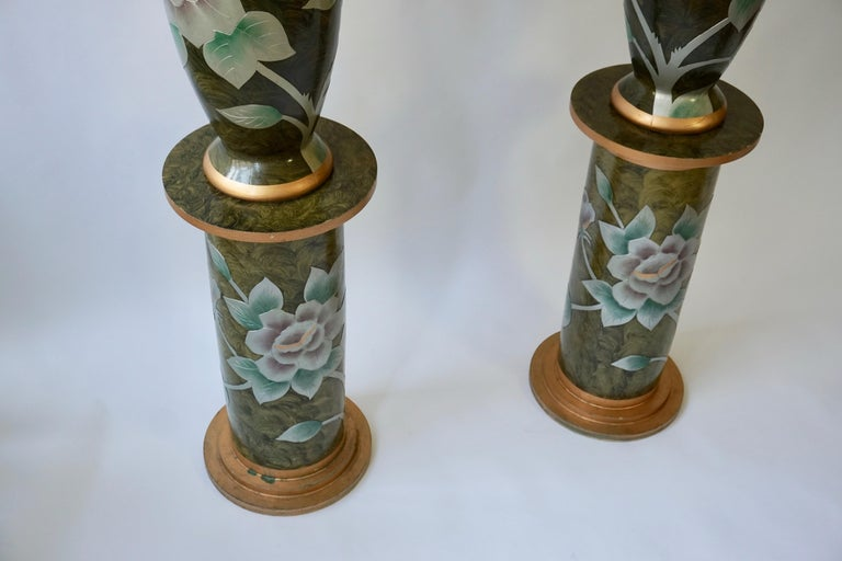 Set of Two Terracotta Table Lamps on Columns For Sale 2
