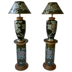 Set of Two Terracotta Table Lamps on Columns