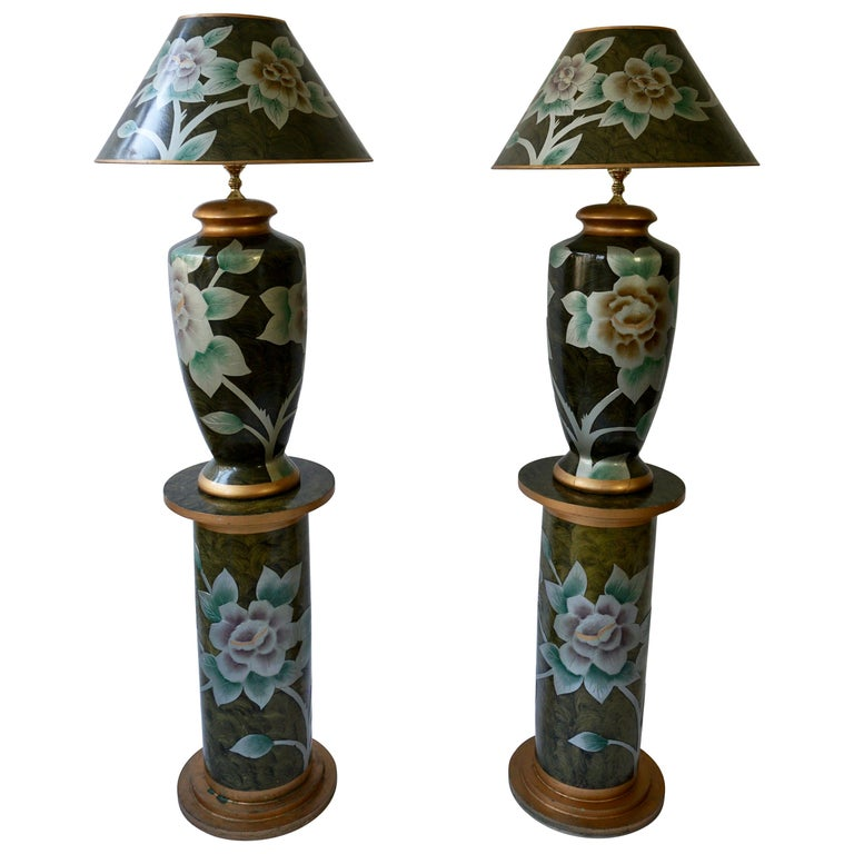 Set of Two Terracotta Table Lamps on Columns For Sale