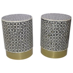 Set of Two Tessellated Bone Drum Tables