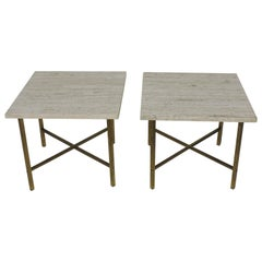 Set of Two Travertine Marble and Brass Square Coffee or End Tables McCobb Style