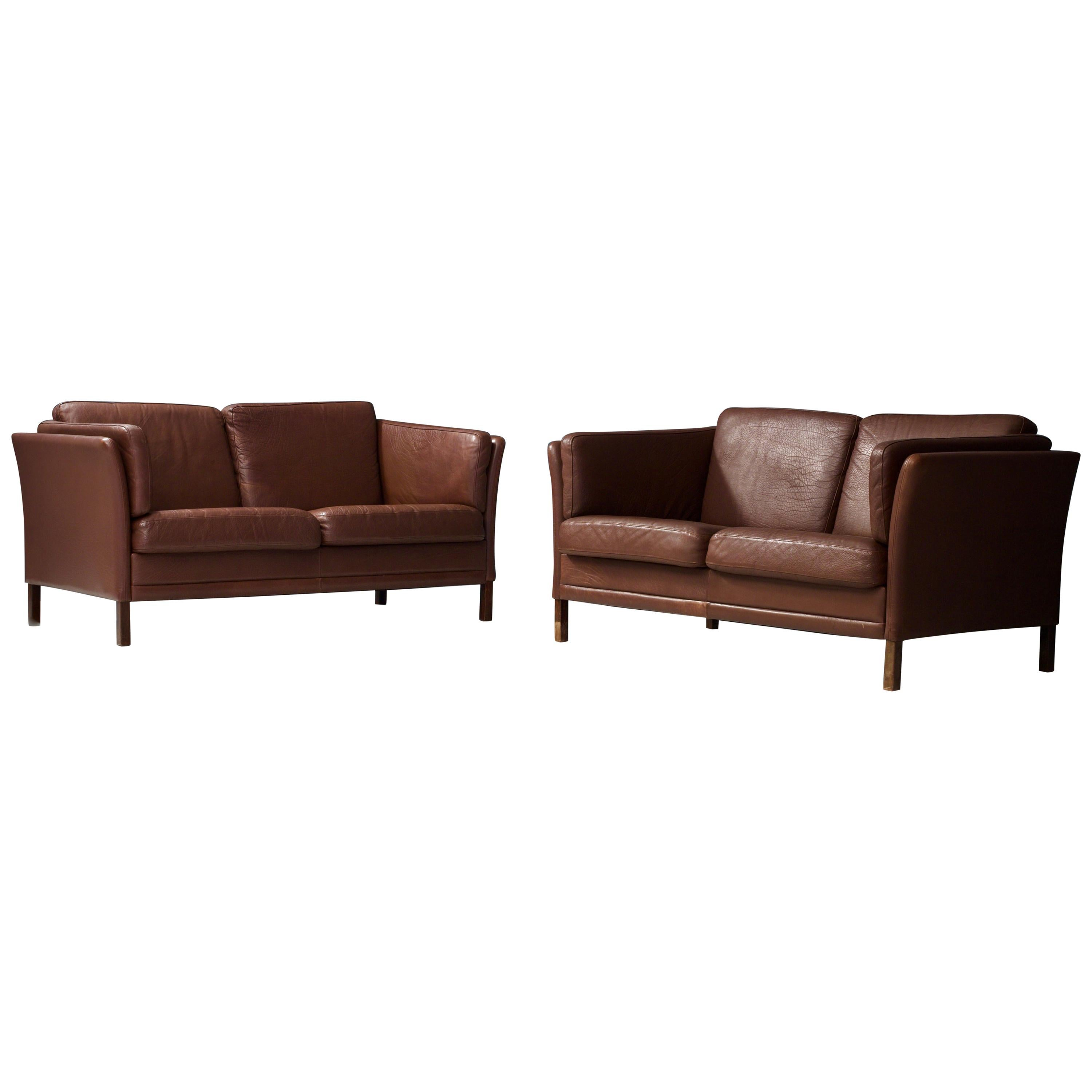 Set of Two, Two-Seat Sofa's in Leather by Mogens Hansen, Denmark, 1960s
