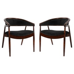 Set of Two Unique Vintage Black Velvet B-3300 Armchairs, Poland, 1960s