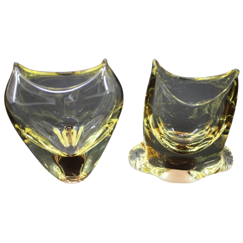 Set of Two Vases/Železnobrodské Sklo, 1960s