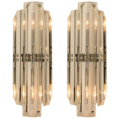 Set of Two Venini Style Murano Glass and Chrome Sconces, Italy