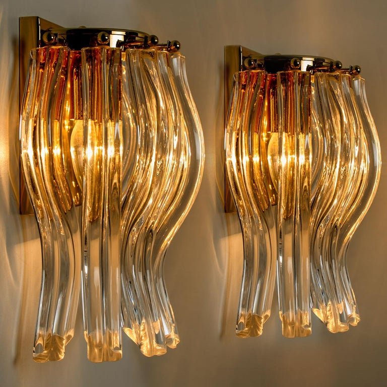 Art Deco Set of Two Venini Style Murano Glass and Gilt Brass Sconces, Italy For Sale