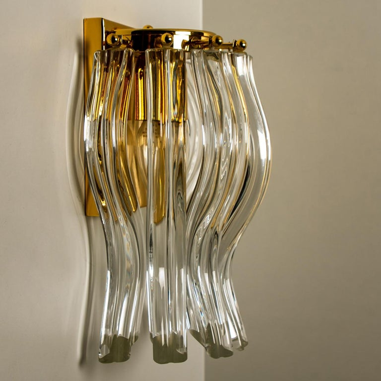 Plated Set of Two Venini Style Murano Glass and Gilt Brass Sconces, Italy For Sale