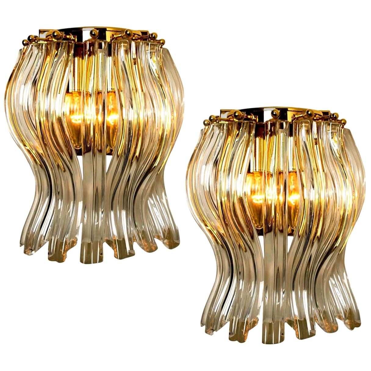 Set of Two Venini Style Murano Glass and Gilt Brass Sconces, Italy