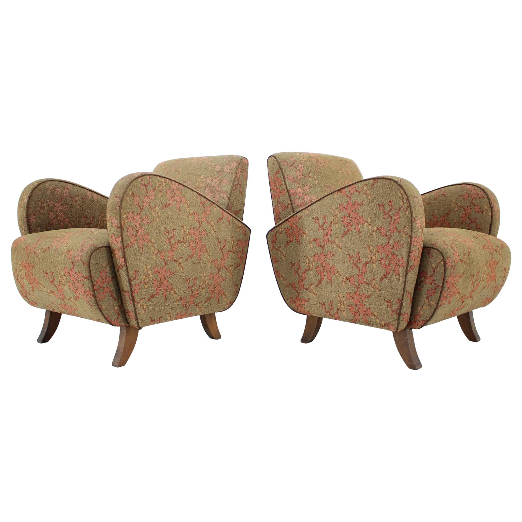 Set of Two Very Rare Art Deco Armchairs H-283 by Jindřich Halabala, 1930s