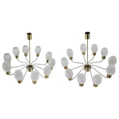 Set of Two Very Rare Big Chandeliers Kamenický Šenov, 1960s