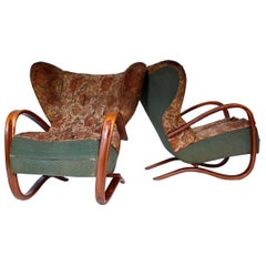 Set of Two Very Rare Prototype Wing Chairs, Halabala Model H-269, 1930s