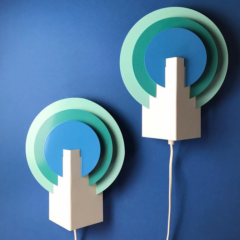 Set of Two Very Special Peacock Wall Lights by Lyskaer, Denmark, 1970s In Good Condition For Sale In Haderslev, DK