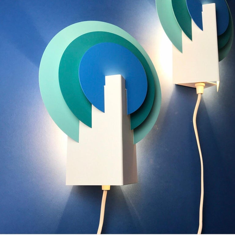 Lacquer Set of Two Very Special Peacock Wall Lights by Lyskaer, Denmark, 1970s For Sale
