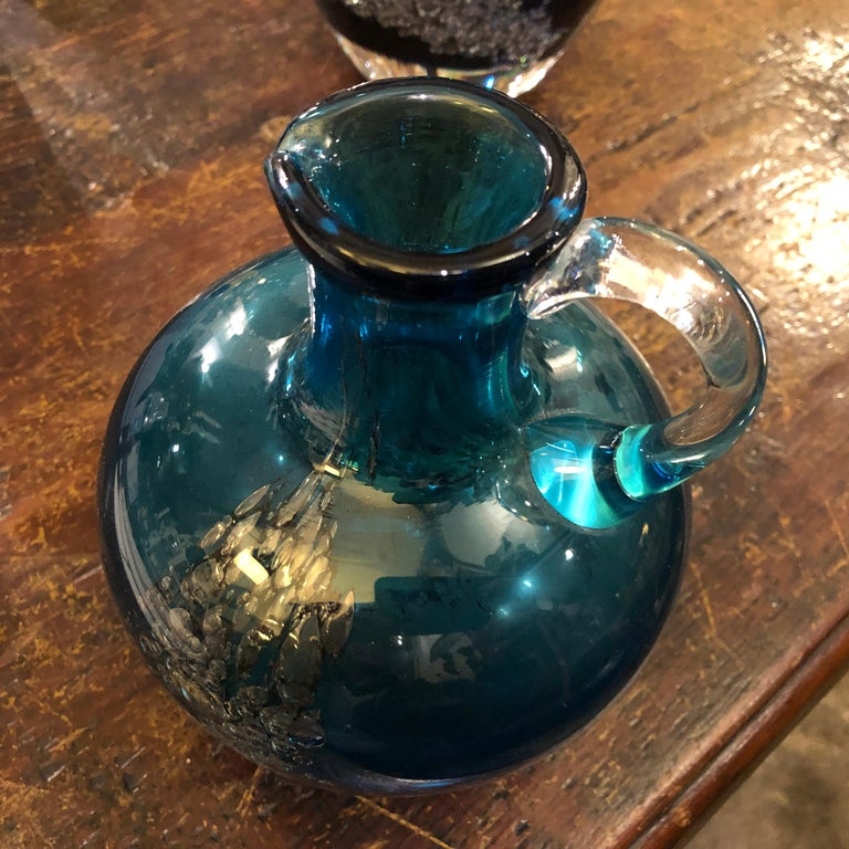 Set of Two Vintage Blue Glass Jugs by Mdina Glass, circa 1980 For Sale 3