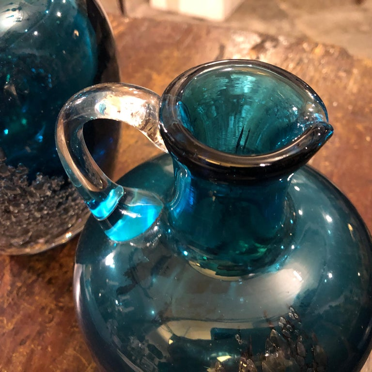 Maltese Set of Two Vintage Blue Glass Jugs by Mdina Glass, circa 1980 For Sale