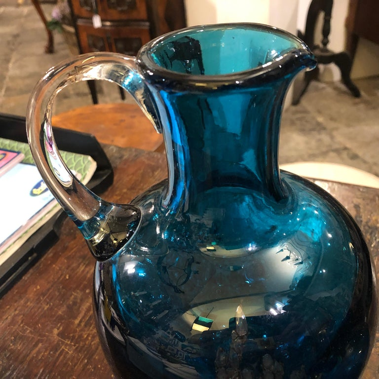 Set of Two Vintage Blue Glass Jugs by Mdina Glass, circa 1980 For Sale 2