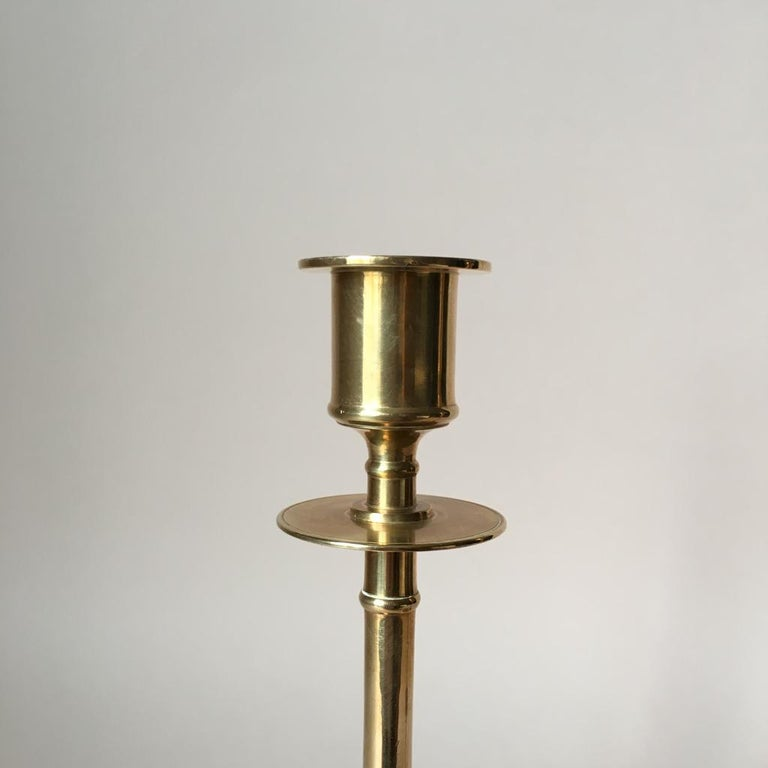 Swedish Set of Two Vintage Brass Candleholders from Grillby Metallfabrik For Sale