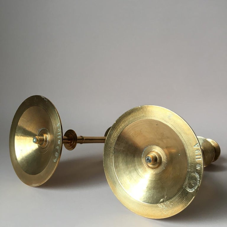 Set of Two Vintage Brass Candleholders from Grillby Metallfabrik For Sale 1