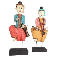 Set of Two Vintage Carved Wood Thai Musicians Sculptures on Stand