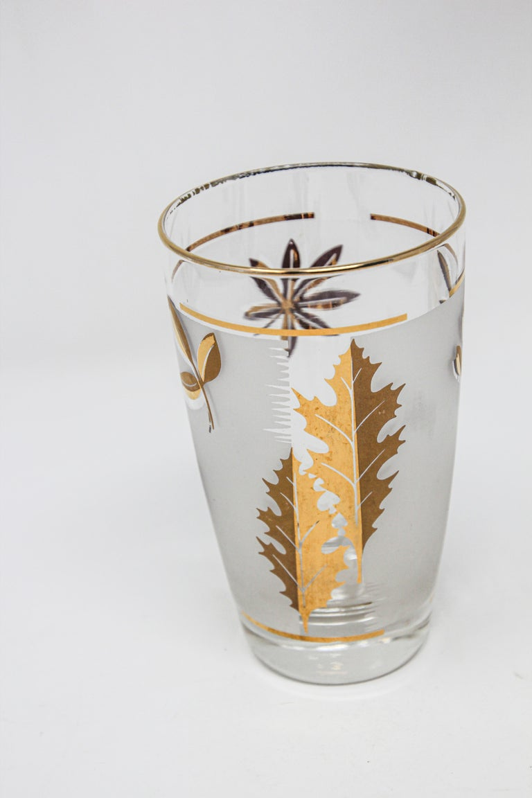 Frosted Set of Two Vintage Cocktail Glasses by Libbey For Sale