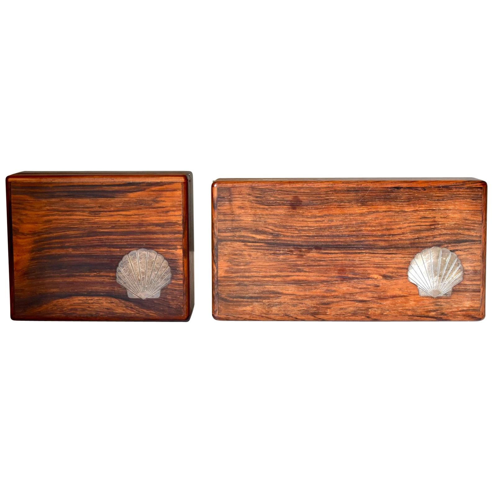 Set of Two Vintage Danish Modern Rosewood Boxes with Sterling Inlays, 1960s