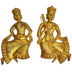 Set of Two Vintage Indian Carved Wood Rajasthani Female Musicians Sculptures