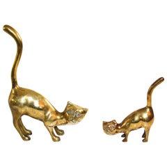 Set of Two Vintage Large Polished Cast Brass Cat Sculptures