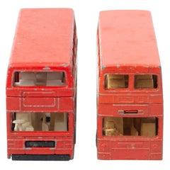 Set of Two Vintage London Bus Match Box Car Toys, circa 1960